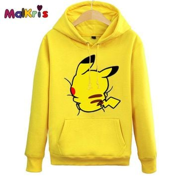 Sudaderas Mujer 2016 Cute Pikachu Jacket Kids Autumn Pokemon Hoodies Women Men Sweatshirts Lover Couple Hooded Jacket