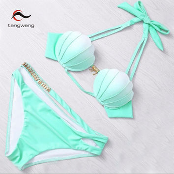 Tengweng 2017 Newest Green Sexy Halter Push Up Padded Bikini Set Mermaid Shell Top Swimsuit Cut Out Swimwear Bandage Bath Suit
