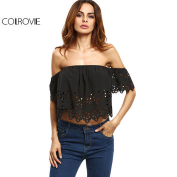COLROVIE Women Blouses Sexy Crop Top Black Off Shoulder Casual Brief Summer Tops 2017 New Fashion Cut Out Beach Blouse C3202