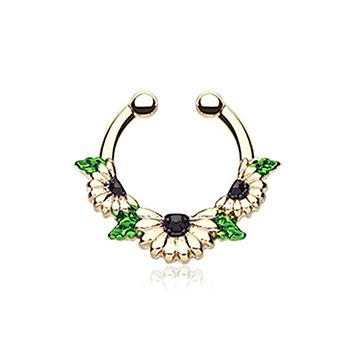 Golden Daisy Garden Icon WildKlass Fake Septum Clip-On Ring