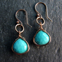 Baby Blue Natural Arizona Turquoise Earrings Wrapped in Bronze - Ligh Blue Stone Dangle Earrings - Blue and gold