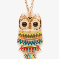 Linked Owl Pendant Necklace
