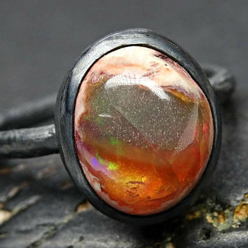fire opal ring black silver, opal engagement ring, silver branch ring opal, molten silver ring opal, unique gift for her, organic opal ring