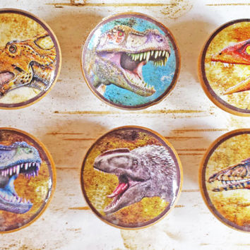 Dinosaur Knobs, Set of 6 Handmade Drawer Pulls, Creature Cabinet Pull Handles, Boys Room Kids Decor, Reptile Knobs, Made To Order