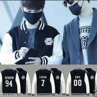 EXO Overdose Baseball Uniform Xiumin Baekhyun Chanyeol Varsity Jacket Coat