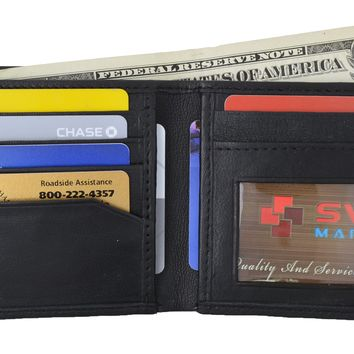 Swiss Marshal Men's Soft Premium Leather Bifold ID Credit Card Money Wallet SW-P60