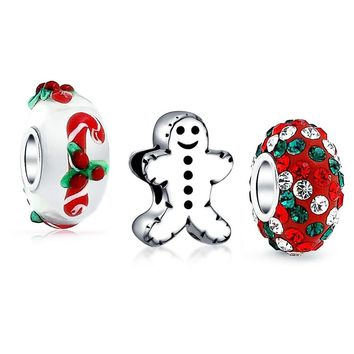 Gingerbread Cookie Candy Cane Set Of 3 Sterling Silver Charm Bead