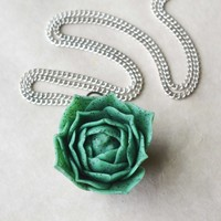 Miniature Succulent Polymer Clay Necklace