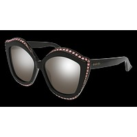 Gucci - GG0118S-002 Black Sunglasses / Silver Flash Lenses