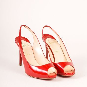 ONETOW Red Patent Leather Peep Toe Slingback Pumps