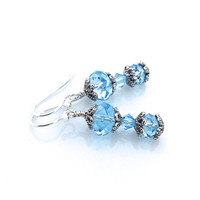 Aquamarine Earring, Light Blue, Swarovski Crystal, Romantic Jewelry, Silver