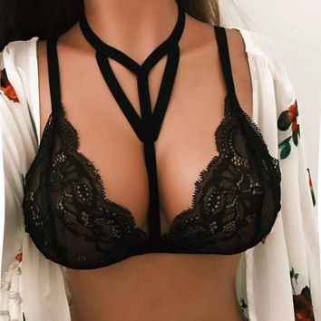 2017 Women Translucent Underwear Sheer Lace Bra Bandage Strap Lingerie Bra Top Bralette Brassiere Women Hollow Harness Crop Tops