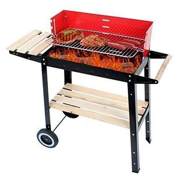 Charcoal Barbecue Grill Wagon Wooden Handle Windsheld Grilling Height Adjustable