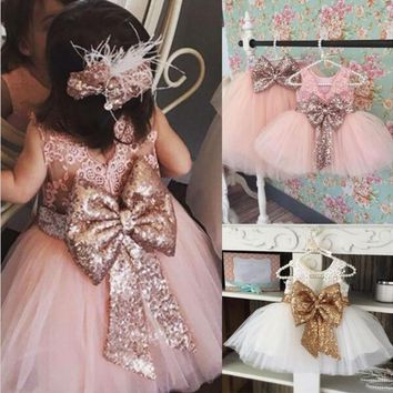 DHL EMS Free Kids Dress 2018 NEW Wedding Party Dress Lace Sequin Bow Back Kids Clothes Dress Valentine's Day wear Baby Dress