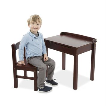 Brown Wood Lift-top Desk And Chair For Toddlers And School Age Children