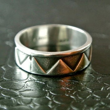 Sterling Silver Band, Triangle Grooves, Silver Band, Silver Ring, Wedding Band