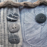 set of four hand made buttons of sea stones for your creation
