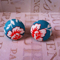 Free Shipping Aqua Floral Fabric Cover Button Earrings