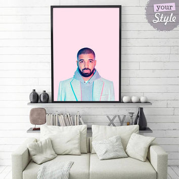 Drake Print • Hip Hop Print Drake Poster Drake Art Drake Wall Art Hotline Bling Drake Party Drake Card Drake Wall Decor Hip Hop Wall Art