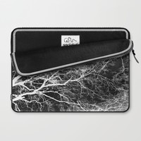 White on Black Trees Laptop Sleeve by ALLY COXON