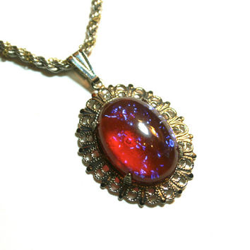 Dragon's Breath Vintage Czech Glass Necklace Mexican Fire Opal Upcycled Silver Tone Chain