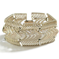 Coro Pegasus Wide Chevron Panel Bracelet In Gold Tone