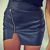 Black Zip Front High Waist Asymmetric Bodycon Skirt