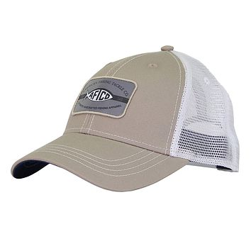 Patch Trucker Hat in Khaki by AFTCO