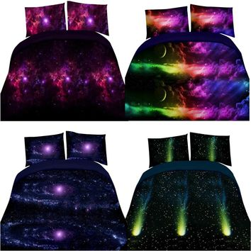 4pcs 3D Print Duvet Cover Sheet Pillowcases Galaxy Bedding Set Sky Single/Queen Size Home Textile Pillowcase Sets   E5M1