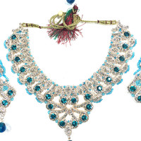 Indian Bridal Jewelry- Turquoise Blue Stone Kundan Polki Necklace Earring Set