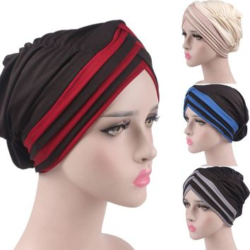Winter knitted Cotton Hat Women Cancer Chemo Hat Beanie Patchwork Turban Head Wrap Cap  female skullies casual