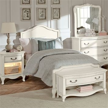 Antique White Charlotte Panel Bed
