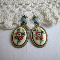 Cameo Earrings, Poppy Glass Cab Swarovski Turquoise Bead Antique Brass