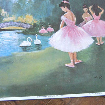 Set of 2 Pretty Ballerina Litho Prints; Pink Tutus w/ White Swans; Midcentury Kitsch Nature Setting; Kawaii Cute Girls' Room Decor /Pics