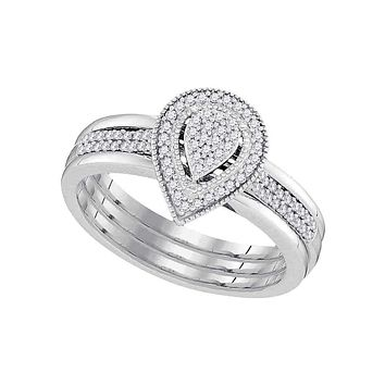 10kt White Gold Women's Diamond Teardrop Cluster Bridal Wedding Engagement Ring Band Set 1/5 Cttw - FREE Shipping (US/CAN)