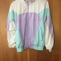 1980s/90s Pastel Color Block Windbreaker Jacket Women's Small Vintage