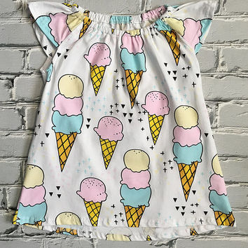 Blue & Pink Ice Cream Angel-Sleeve Dress - Infant & Toddler