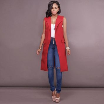 Red Sleeveless Long Blazer with Pockets