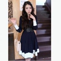 Sweety Navy Style Frills Button Embellished Blue Long Sleeves Cotton Dress For Women China Wholesale - Sammydress.com