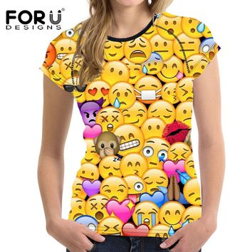 FORUDESIGNS T Shirt Women Top Shirt Kawaii 3D Emoji Smily Face Teen Girls Clothes Female Funny T-shirt For Women Vetement Femme