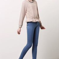 Long-Sleeve Mesh Ruffled Shirt