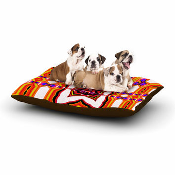 "Dawid Roc ""Inspired By Psychedelic Art 4"" Orange Abstract Dog Bed"