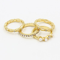Gold Rhinestone and Faux Pearl Ring Pack