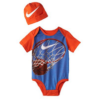 Nike Baby Boy Creeper Bodysuit and Hat 2 Piece 3-6 Months Orange