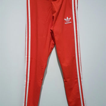 Adidas Women Fashion Red Running Leggings Sweatpants