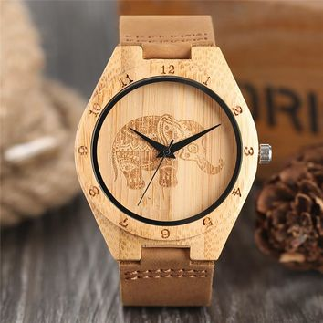 Boho Style Wooden Watch Women Creative Elephant Carving Dial Nature Wood Case Novel Gift Casual Wristwatches relogio masculino