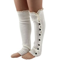 Changeshopping(TM) Women Crochet Knitted Stocking Leg Warmers Boot Cover Lace Trim Socks (White)