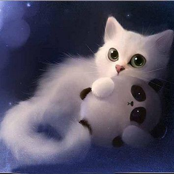 5D Diamond Painting Kitten and Panda Toy Kit