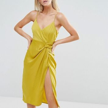 ASOS PETITE Hammered Satin Strappy Pencil Midi Dress at asos.com