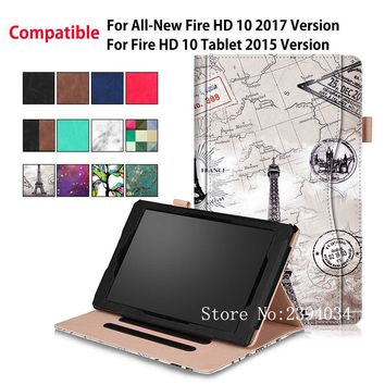 "Case For Amazon Kindle All-New Fire HD 10 Tablet with Alexa 10.1"" 2017 Smart Cover For Fire HD 10 2015 Funda PU Leather Shell"